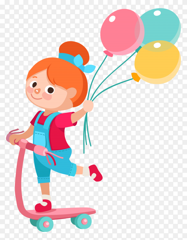 Girl with balloons cartoon Clipart PNG