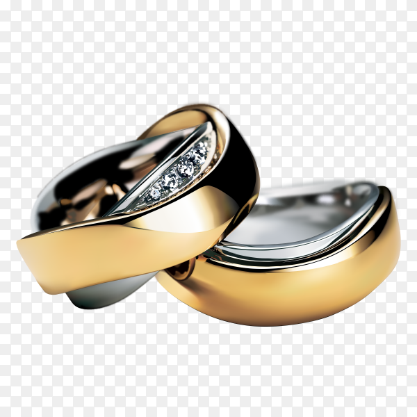 Gold rings on transparent background PNG