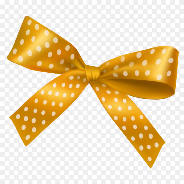 Golden bow and ribbon vector PNG