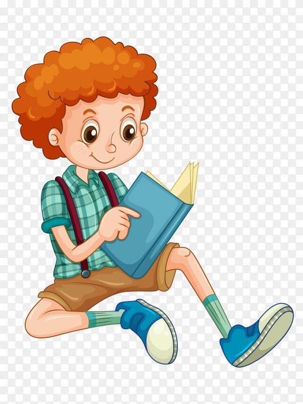 Good boy reading book Premium vector PNG