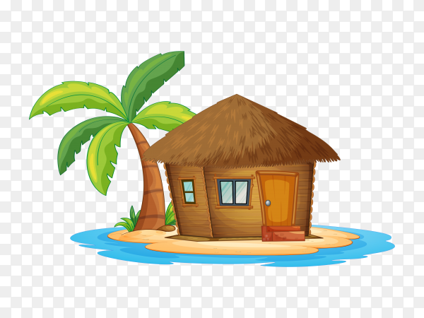 Great houes with palm on transparent backgrpund PNG