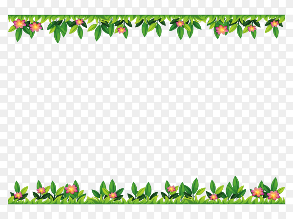 Green leaves and flowers shaping frame on transparent PNG
