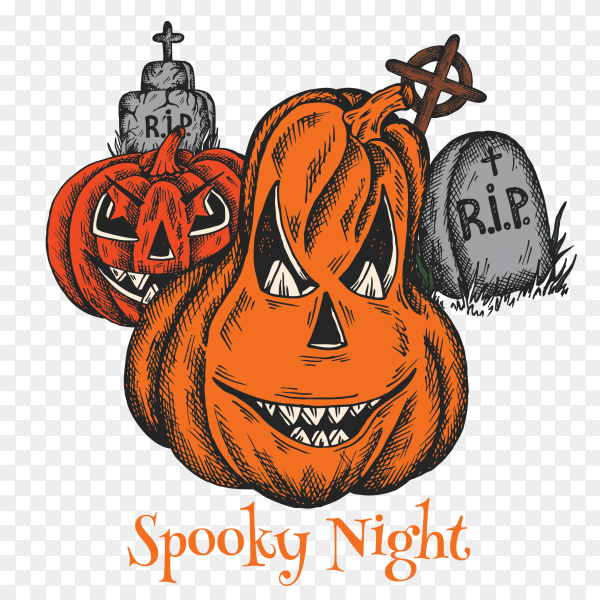 Halloween Spooky night colorful cartoon on transparent PNG