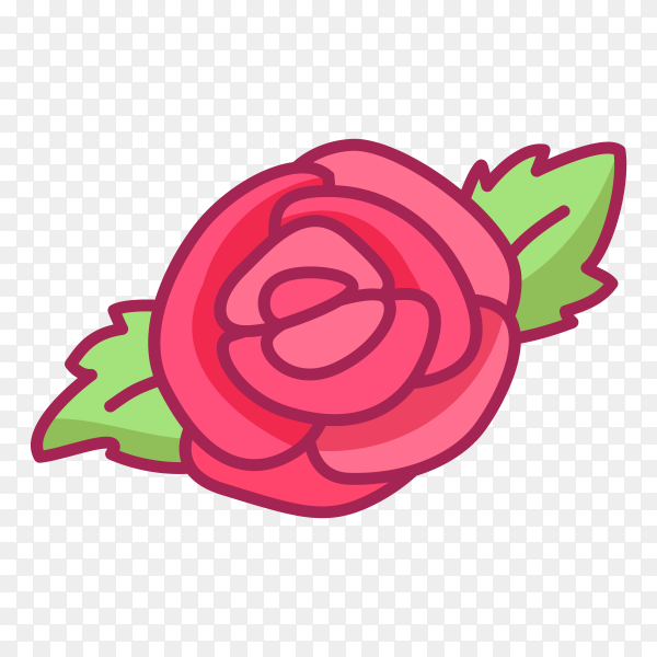 Hand drawn Pink rose with leaves vector PNG
