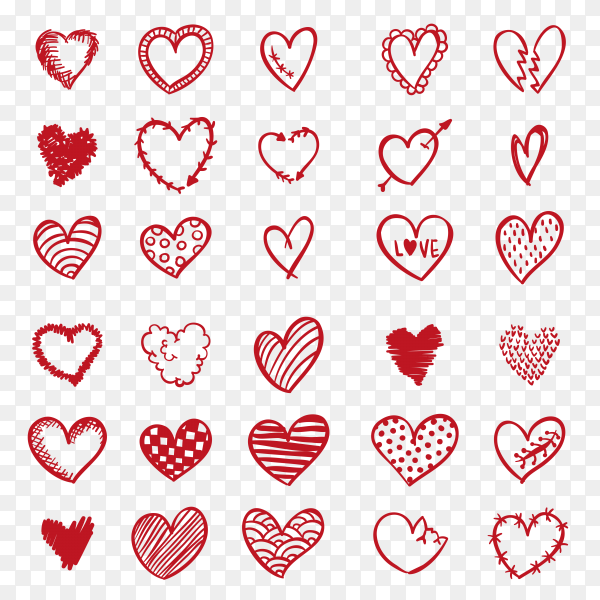 Hand drawn doodle heart collection Premium Vecto PNG