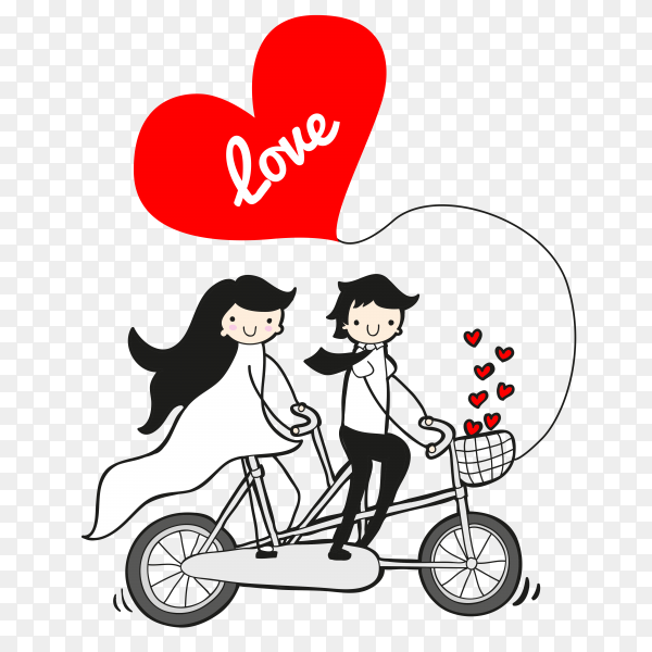 Happy couple riding bike on transparent background PNG