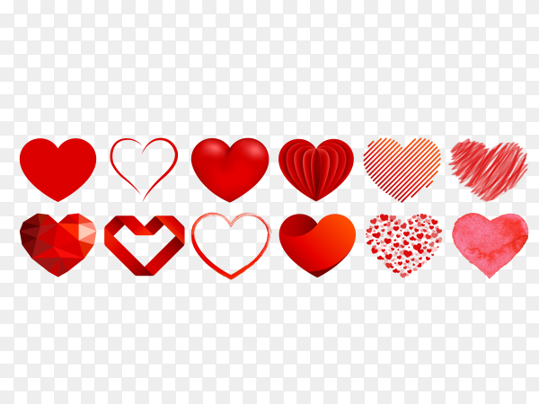 Heart collection with different styles Clipart PNG