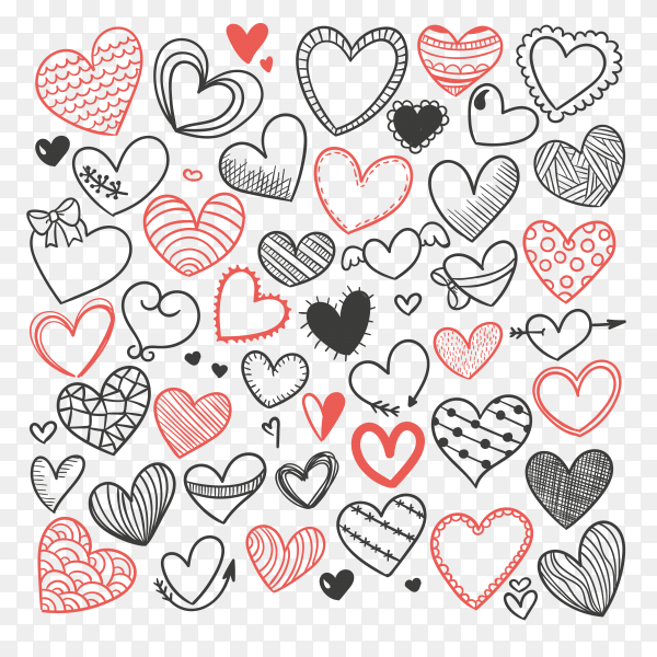 Heart sketches on tansparent background PNG