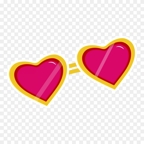 Heart sunglasess on transparent PNG