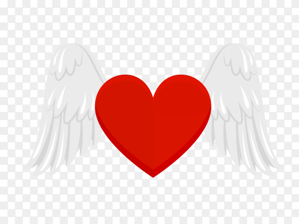 Heart with wings on transparent background PNG