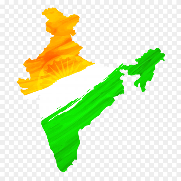 Indian flag forms India map with watercolors Premium vector PNG