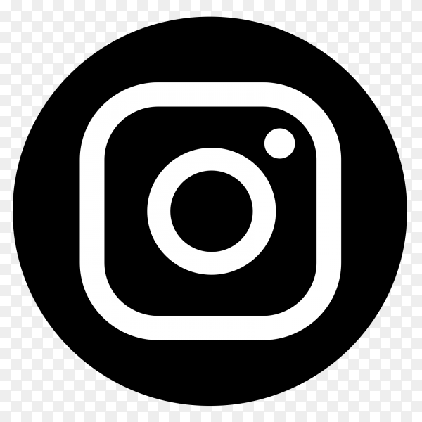 Instagram black and white logo vector PNG