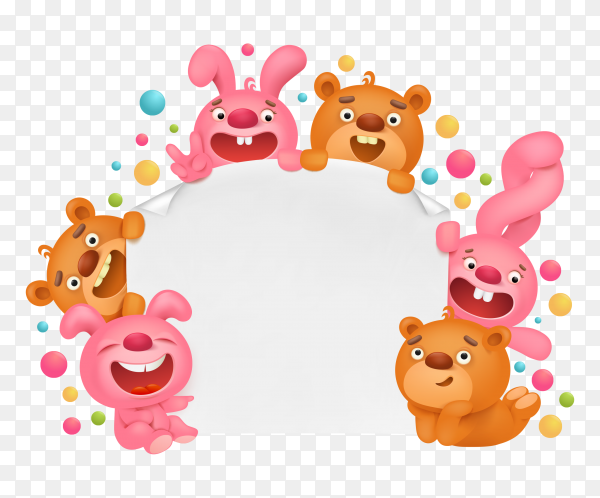 Invitation card template with funny cartoon toy animals vector PNG