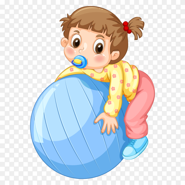 Little girl playing with ball vector PNG