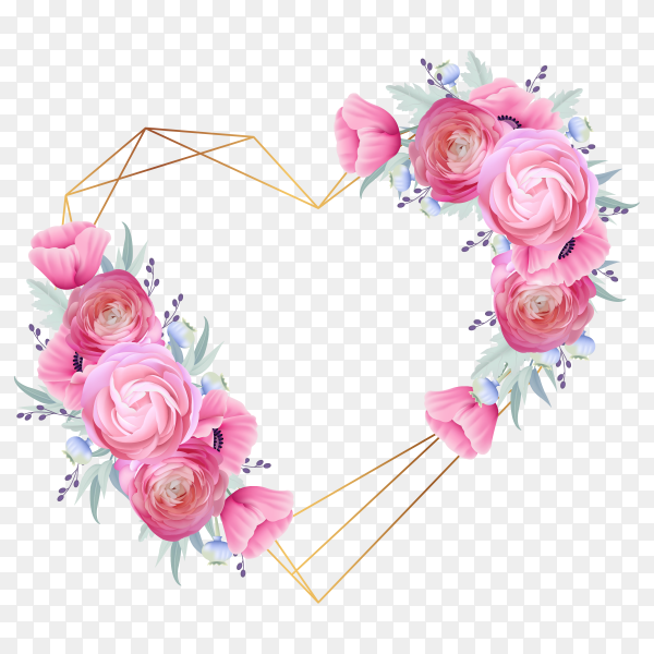 Love frame with flowers vector PNG