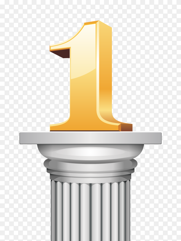 Number one with golden font vector PNG