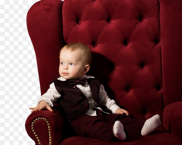 One year old baby  on chair on transparent PNG