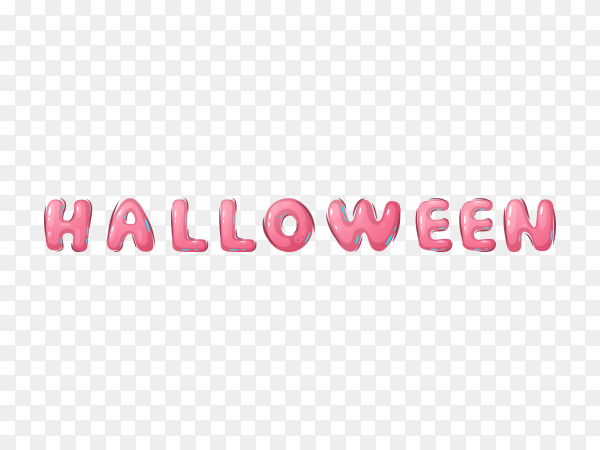 Pink Halloween word on transparent PNG