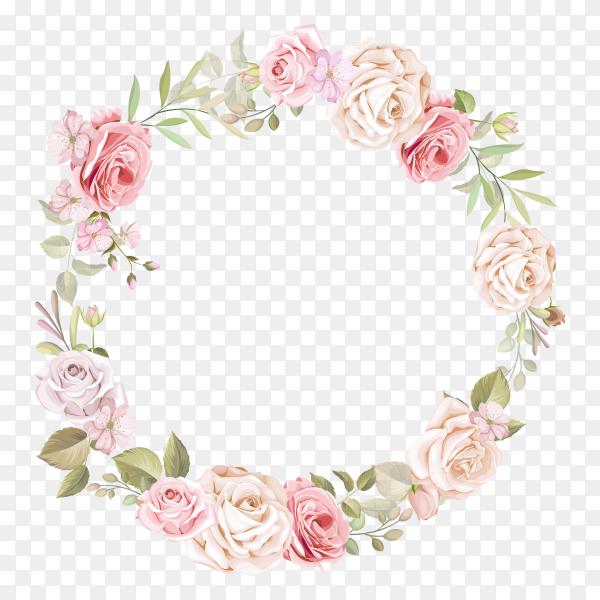 Pink Rose Border Frame on transparent PNG