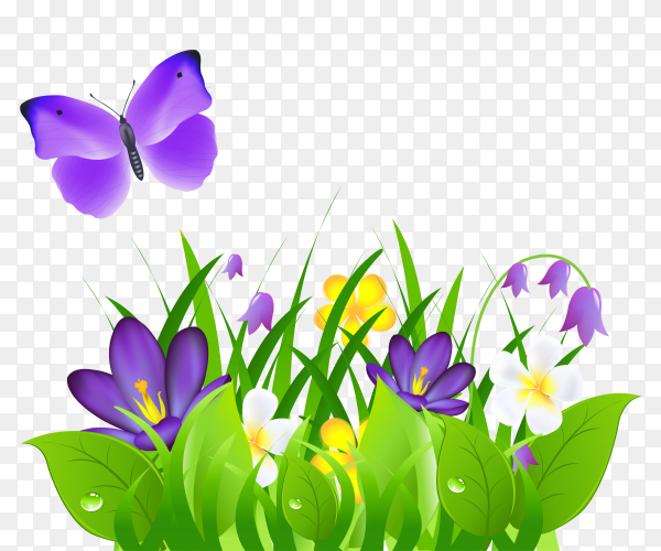 Purple Flowers Grass and Butterfly Clipart PNG