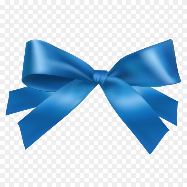 Realistic blue bow  Premium Vector PNG