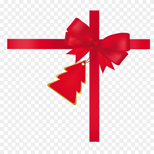 Realistic red bow and ribbon Vector PNG