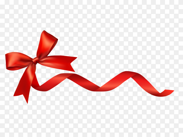 Realistic red ribbon on transparent PNG