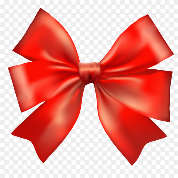Red bow and ribbon on transparent PNG