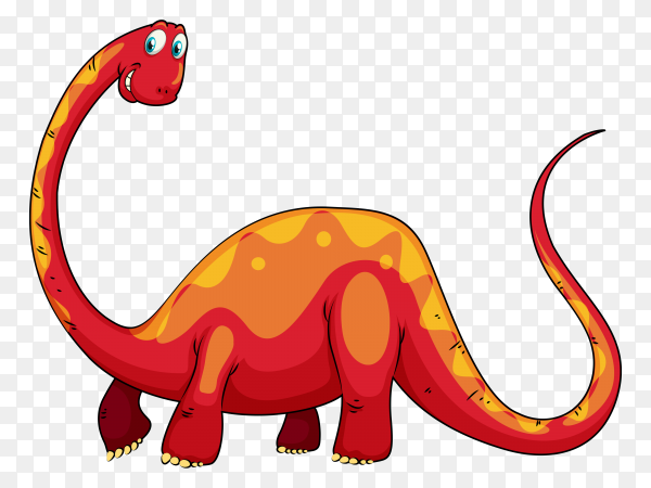 Red dinosaur with long neck illustration vector PNG