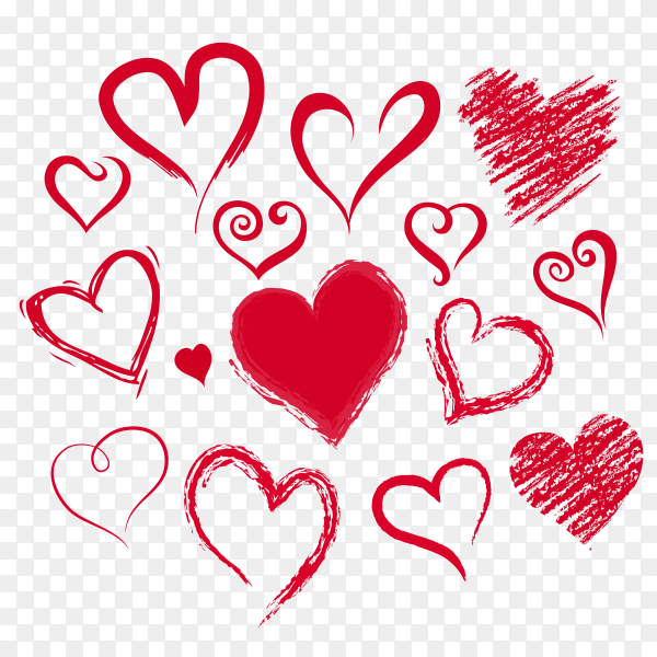 Red hearts vector PNG
