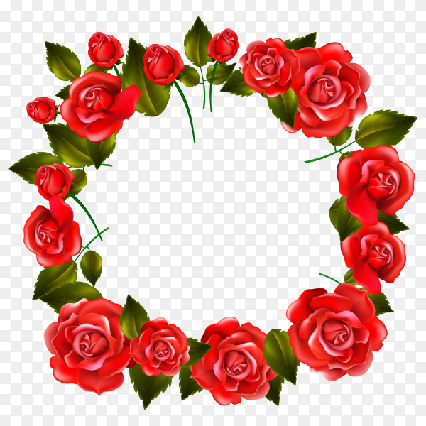 Red roses decoration on transparent background PNG