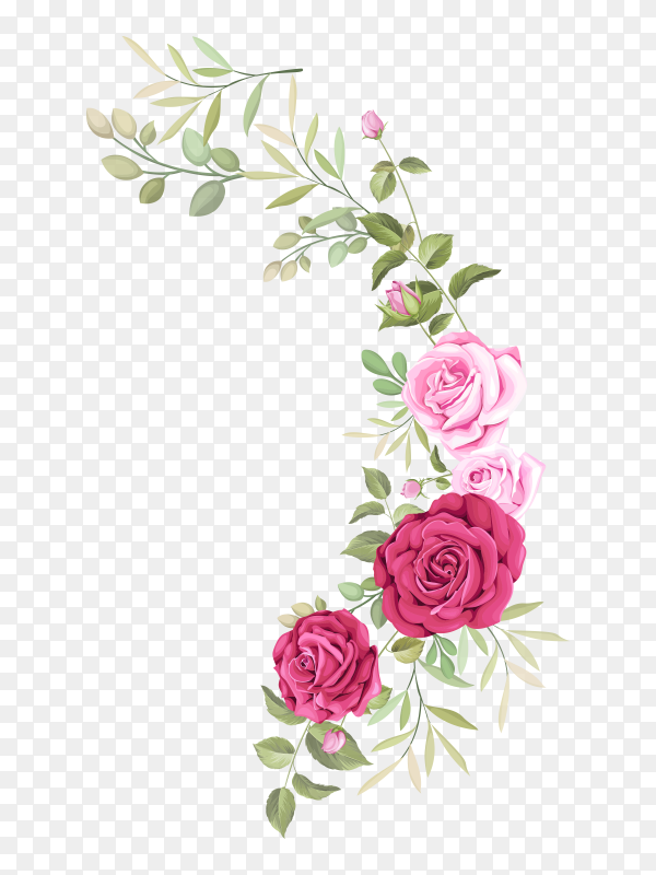 Rose bouquet for botanical card Premium Vector PNG