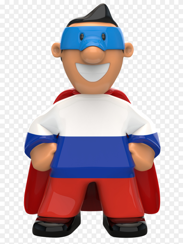 Russia flag shaped on super hero on transparent background PNG