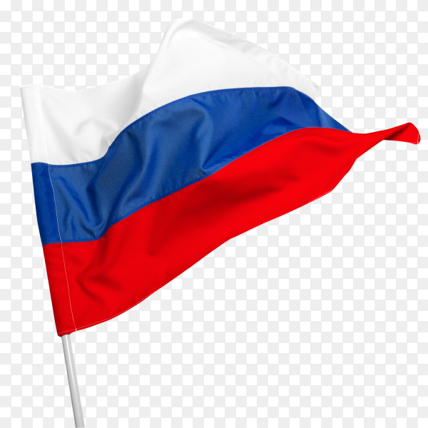 Russia flag waving on transparent background PNG