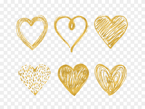 Several golden hearts painted with watercolor Clipart PNG