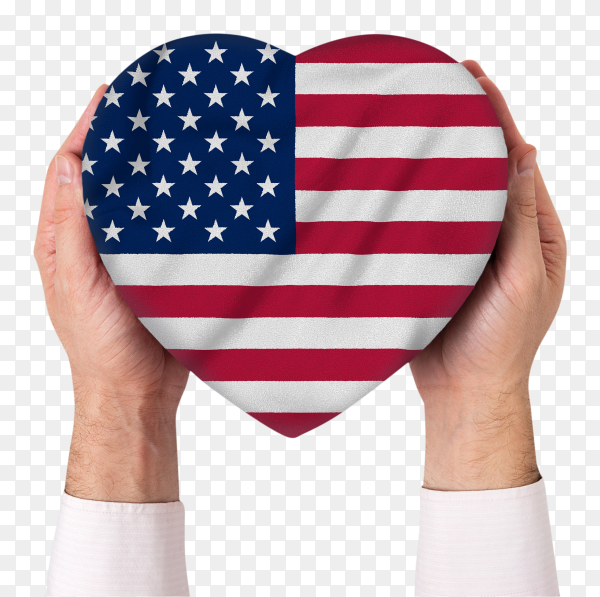 Shaped heart of USA flag held with hands on transparent PNG