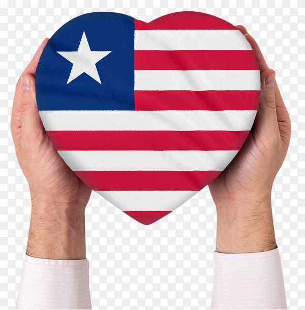 Shaped heart of liberia flag held with hands on transparent PNG