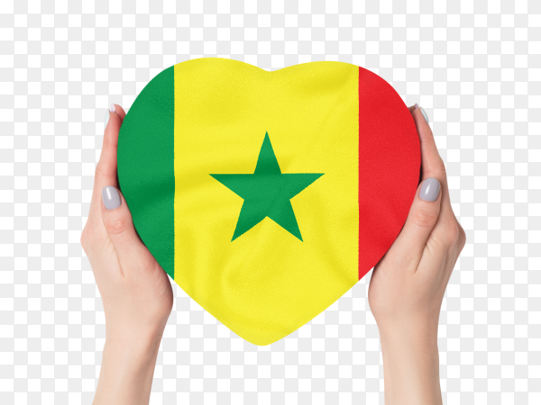 Shaped heart of senegal flag held with female hands on transparent PNG