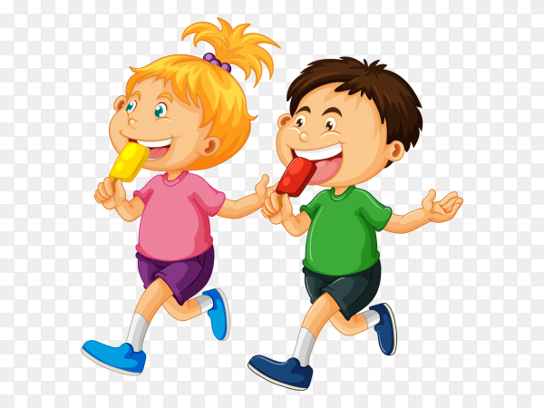 Smiling boy and girl eating ice creams vector PNG