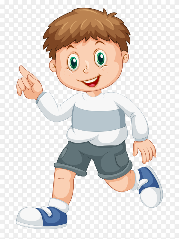 Smiling boy running and raising his finger vector PNG