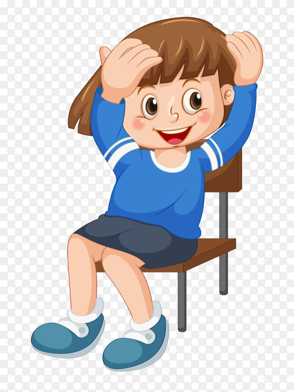 Smiling boy setting on chair Clipart PNG