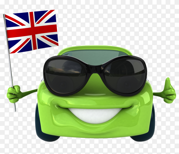 Smiling green car holding Britain flag vector PNG