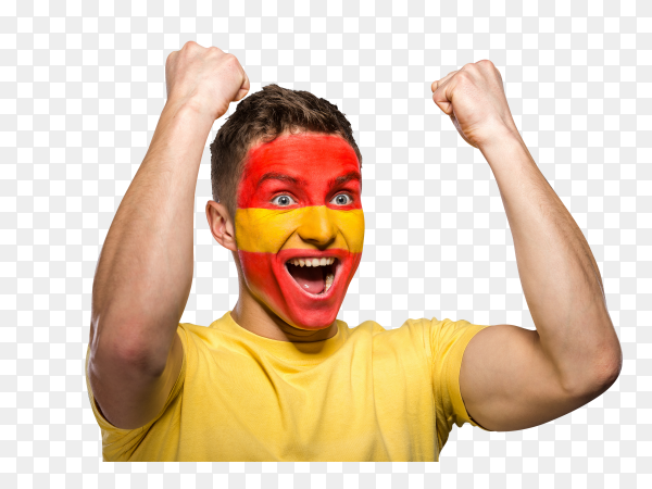Spain flag painted on face on transparent PNG
