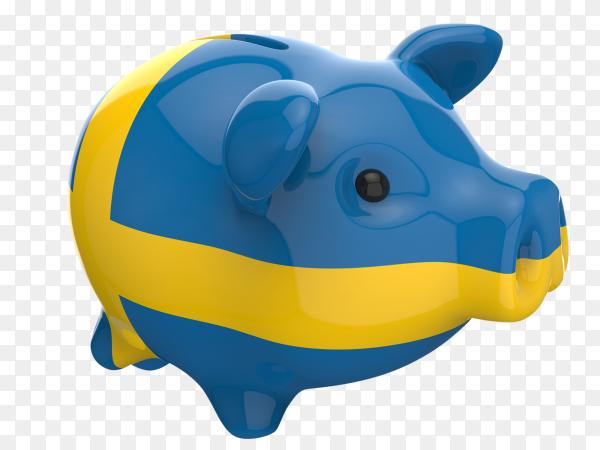 Sweden flag shaped on piggy bank vector PNG