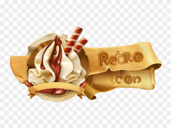 Tasty ice cream with tetro icon vector PNG