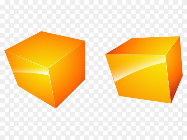 Tow orange 3D cubes on transparent background PNG