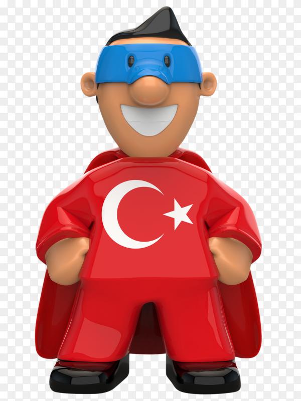 Turkey flag shaped on super hero on transparent background PNG