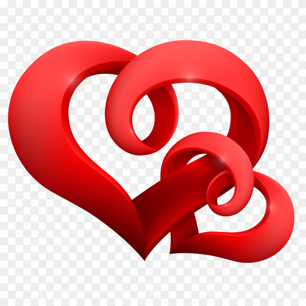 Two Red hearts on transparent background PNG