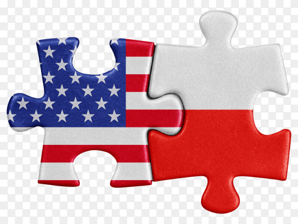 USA Poland Flags shaped on puzzle clipart PNG