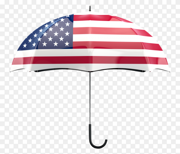 USA flag shaped on an umbrella on transparent PNG